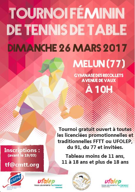 Affiche tournoi feminin Tennis de Table